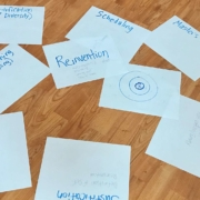 Pages on the floor at Wellness and Personal Development retreats with Theresa Ann Coaching
